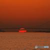 明石海峡大橋と夕日Ⅱ
