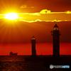 灯台と夕日②