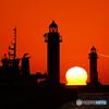 灯台間のダルマ夕日②