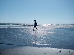 波打ち際を歩く・・・