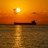 船上から見た夕日