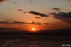 伊豆半島に沈む太陽
