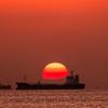 三浦半島に沈む夕日
