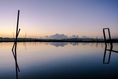 印旛沼の朝焼け