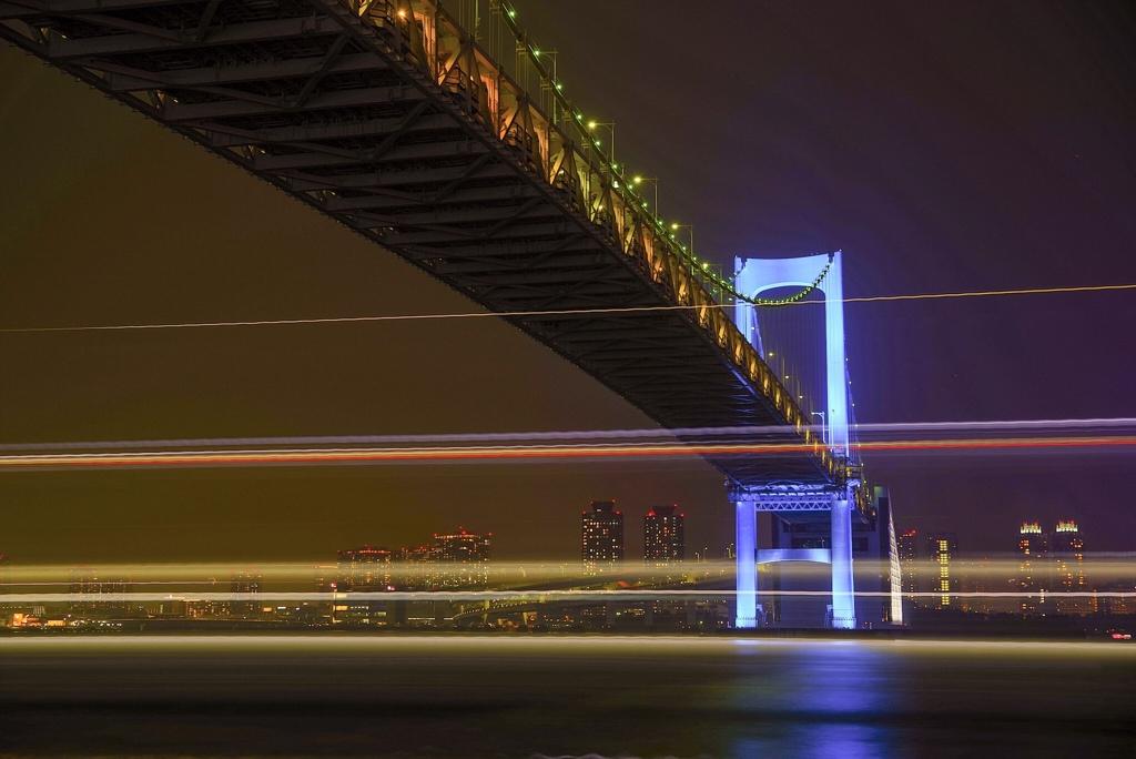 レインボーブリッジと光線