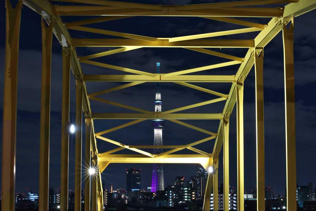 避難橋越しのST