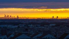 加治丘陵から関東平野眺望・さいたま新都心を染める朝日