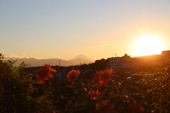夕暮れ富士山のある風景