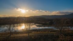 大北川の夕景