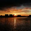 豪雨の後の夕日