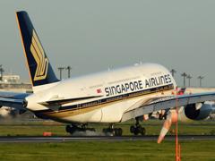 シンガポールA380 着陸
