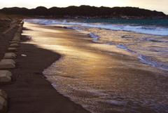 朝色の砂浜