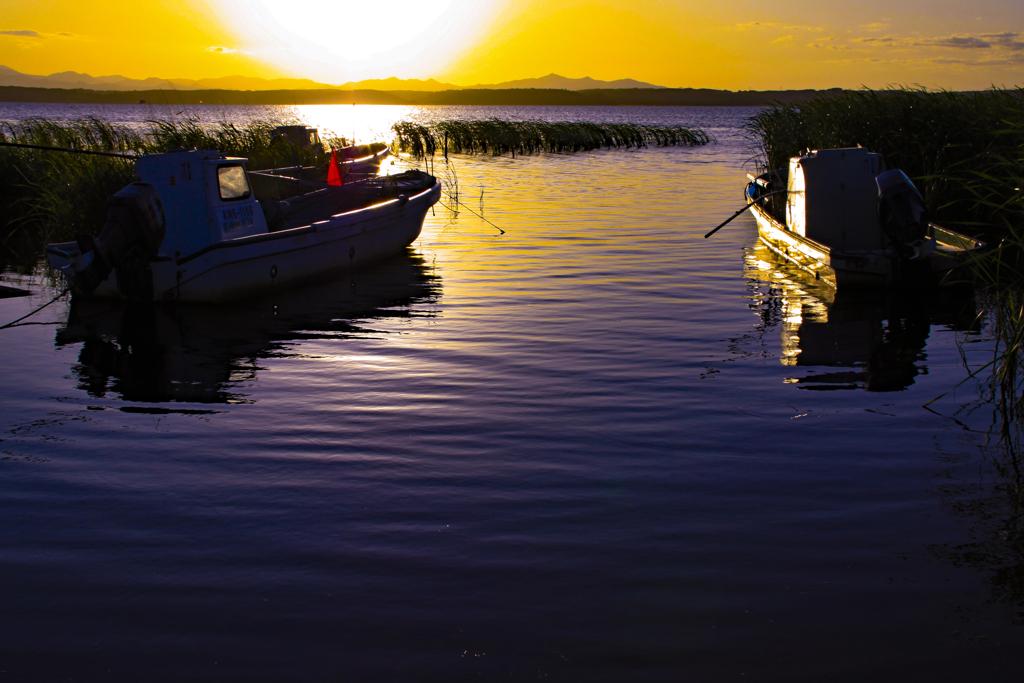 小川原湖夕景