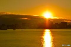 レインボーブリッジと夕焼け