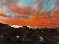 今朝の朝焼け (西の空)