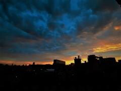 今朝の朝焼け(東の空)