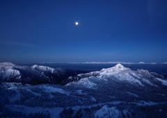 満月と白い稜線