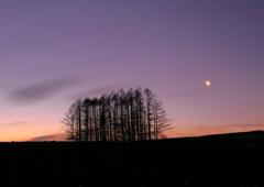 三日月と木星の朝