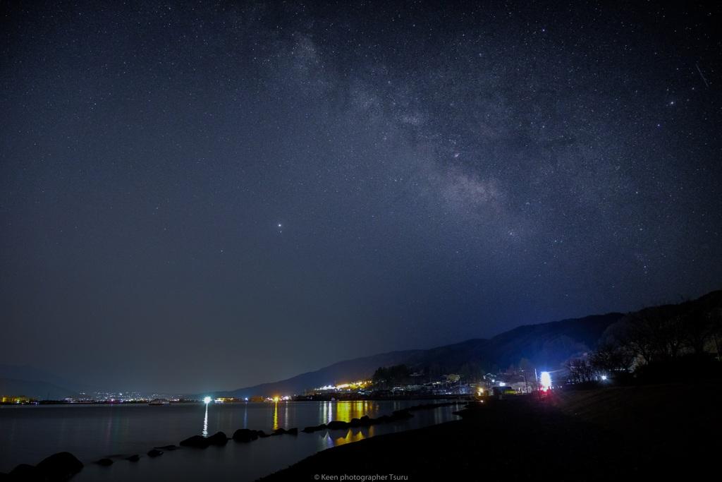 諏訪湖と星空