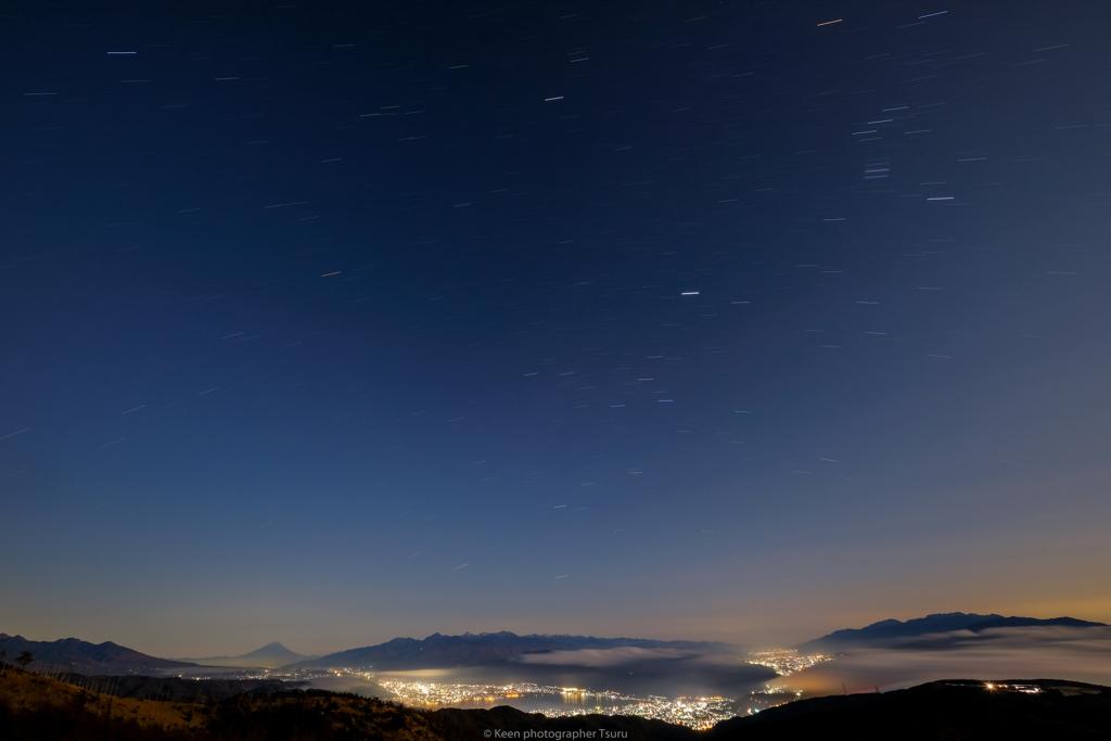 オリオンと諏訪夜景
