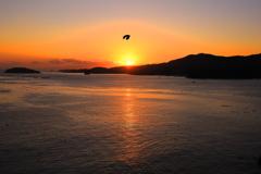 南三陸志津川湾の夜明け