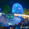 夜の催し - パノラマ(360°画像からの切り出しパノラマ)