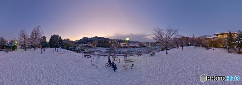 積雪9センチ~日が暮れても遊ぶ