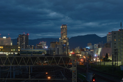 Night view of Sapporo Station from Naebo