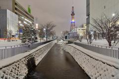 新雪の創成川