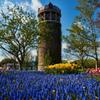 サイロと春の花々のハーモニー