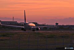 夕景色に染まる機体
