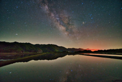 水鏡に映る天の川