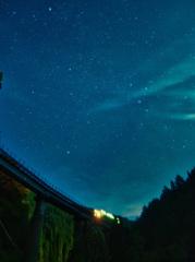 月夜の秘境路線を走行するキハ120