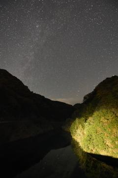 富栖湖と星。