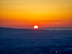 若草山からの夕日