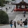 鶴岡八幡宮の階段に初チャレンジの息子