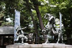 信玄公と謙信公 川中島古戦場史跡公園