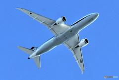 家の上空を飛ぶ旅客機