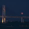 横浜港に名月昇る