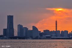 横浜港 ちょっとだけの夕焼け