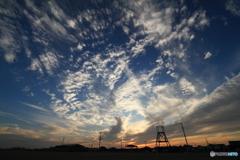 九十九里浜で見る夕空