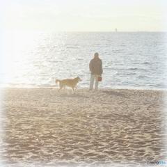 おじさんと犬