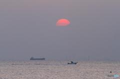 夕日、船、ボート