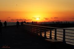 桟橋の夕日