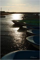 港への夕日