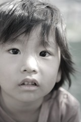 A boy in monochrome