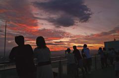 夕暮の空中展望台
