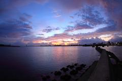 別府湾の夜明け