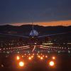 Landing in the sunset sky