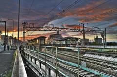 中津駅周辺の夕景